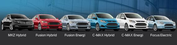 La gamma attuale di auto elettriche e ibride Ford