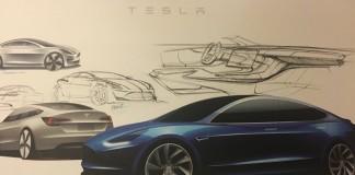 Design-bozzetto-Tesla- Model-3