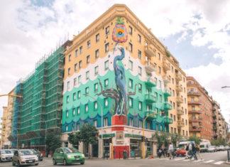 """Roma, Ostiense. """"Hunting pollution"""", il murale di Iena Cruz dipinto con prodotti Airllite. L'immagine è ricavata da l profilo Instagram di Yourban2030."""